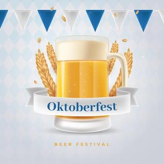 Realistyczny baner oktoberfest z kuflem piwa