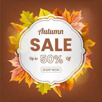Realistyczny baner sprzedaży jesień