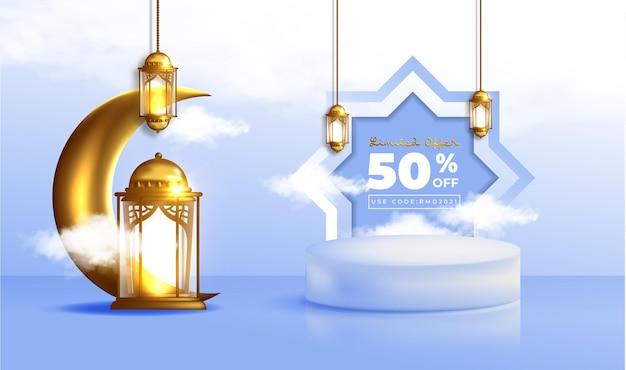 Realistyczny baner sprzedaży ramadan kareem z podium 3d i ramką rabatową