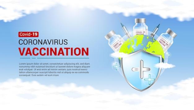 Realistyczny baner szczepień przeciwko koronawirusowi ze strzykawką, szczepionką, tarczą, koronawirusem i ziemią