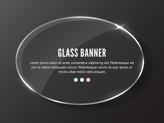 Realistyczny baner szklanej elipsy. przezroczysta płyta