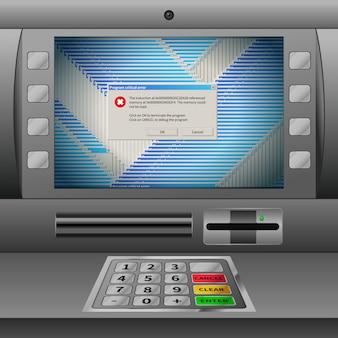 Realistyczny bankomat z klawiaturą i dużą ilością krytycznych komunikatów o błędach