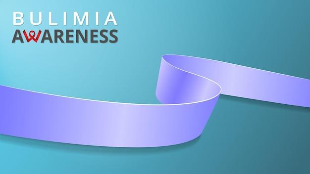 Realistyczny barwinek niebieska wstążka świadomość miesiąca bulimii ilustracja wektorowa światowy dzień bulimii