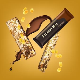 Realistyczny baton proteinowy o czekoladowym smaku: pakowany i otwarty na żółtym tle