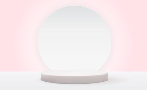 Realistyczny biały cokół 3d na jasnym, pastelowym naturalnym tle modny pusty wyświetlacz podium