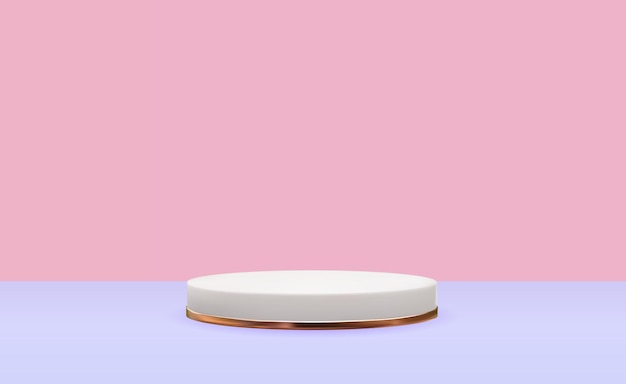 Realistyczny biały cokół 3d ze złotym pierścieniem