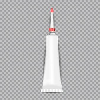 Realistyczny biały klej rurki na przezroczystym tle. ilustracji wektorowych.