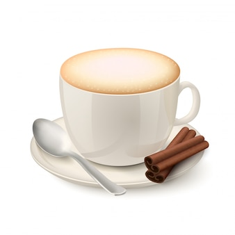 Realistyczny biały kubek wypełniony cappuccino
