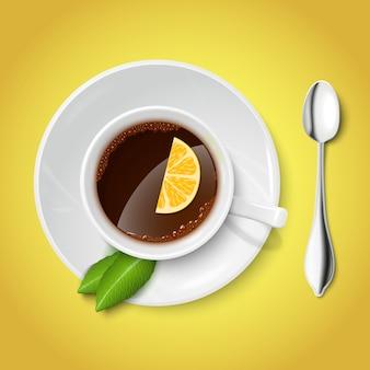 Realistyczny biały kubek z czarną herbatą