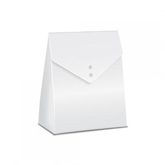 Realistyczny biały model kartonowego pudełka na jedzenie. pusty szablon pojemnika produktu, ilustracja