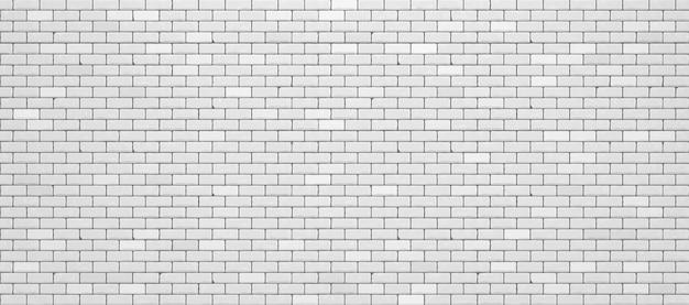 Realistyczny biały mur z cegły.
