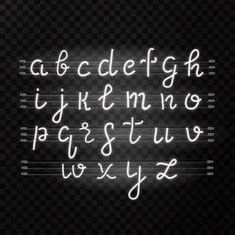 Realistyczny biały neon alfabet na przezroczystym tle do dekoracji i pokrycia.