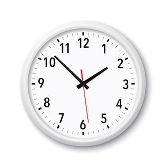 Realistyczny biały nowoczesny kwarcowy zegar ścienny