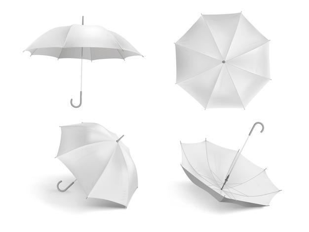 Realistyczny biały parasol. pusty otwarty parasol z tkaniny, zestaw szablonów wodoodpornych parasoli na zewnątrz.