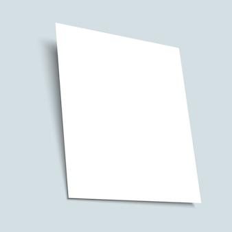 Realistyczny biały pusty arkusz papieru