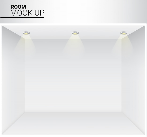 Realistyczny biały pusty pokój ze światłem do sklepu, sklep tło wystawy