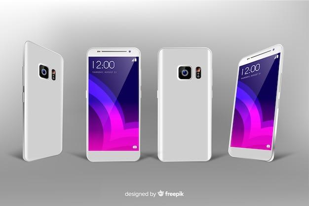 Realistyczny biały smartfon w różnych widokach