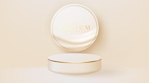 Realistyczny biały stojak ze sceną ze złotym okręgiem, podium przedstawiające produkt do sprzedaży promocyjnej i marketingu. luksusowy styl tło. ilustracja wektorowa 3d.