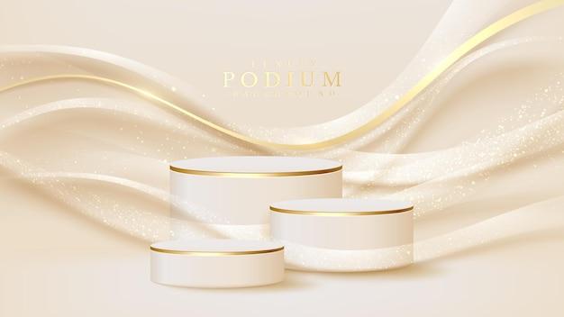 Realistyczny biały stojak ze złotą sceną linii krzywych, podium przedstawiające produkt do sprzedaży promocyjnej i marketingu. luksusowy styl tło. ilustracja wektorowa 3d.