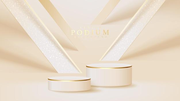 Realistyczny biały stojak ze złotą sceną ukośnych linii, podium przedstawiające produkt do sprzedaży promocyjnej i marketingu. luksusowy styl tło. ilustracja wektorowa 3d.