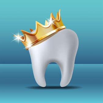 Realistyczny biały ząb w złotej koronie. ikona opieki stomatologicznej stomatologicznej opieki stomatologicznej.