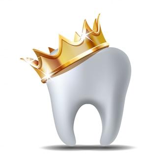Realistyczny biały ząb w złotej koronie na białym tle