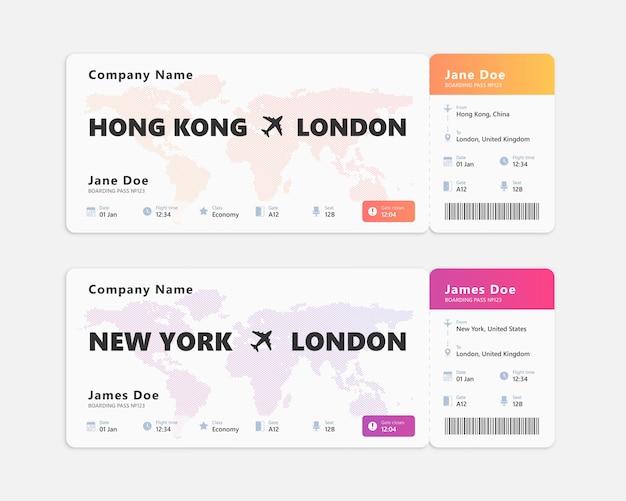 Realistyczny bilet lotniczy na białym tle. projekt koncepcyjny biletu pokładowego.