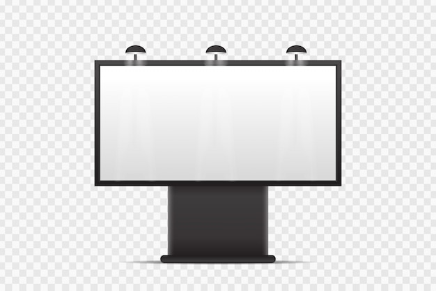 Realistyczny billboard do zakrycia na przezroczystym tle. pusty szablon do dekoracji i reklamy.