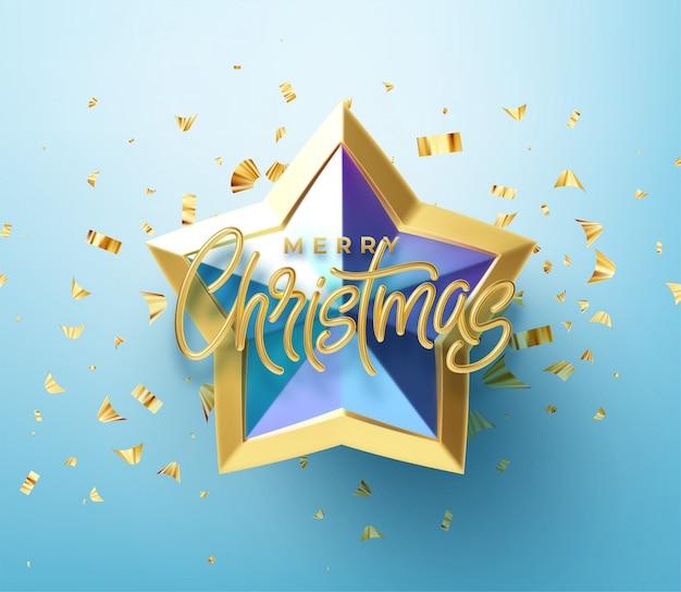 Realistyczny błyszczący 3d złoty napis wesołych świąt na niebieskim tle złotej gwiazdy.