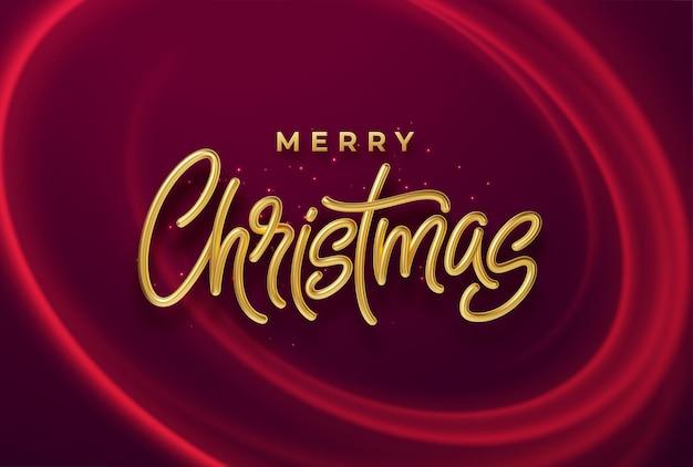 Realistyczny błyszczący 3d złoty napis wesołych świąt na tle z czerwonymi jasnymi falami. ilustracja wektorowa eps10