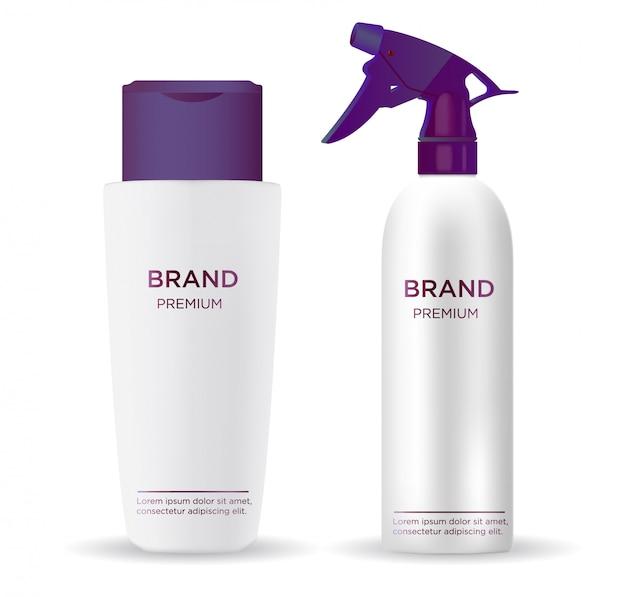 Realistyczny błyszczący biały zestaw kosmetyczny w sprayu z fioletową nasadką, pokrywką i pompką w sprayu.