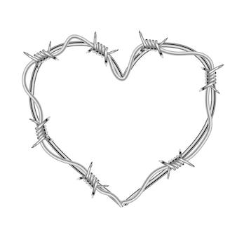 Realistyczny błyszczący drut kolczasty w kształcie serca na białym tle