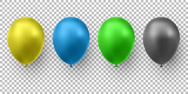 Realistyczny błyszczący kolor balonu. balony na urodziny, imprezy świąteczne, przyjęcia, wesela. festiwal romantycznych dekoracji. ilustracja.