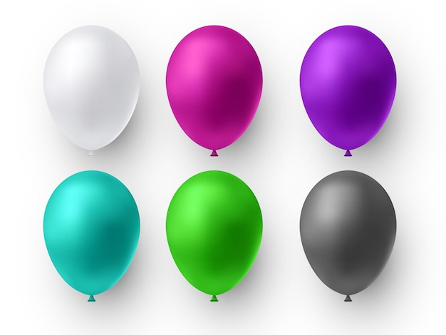 Realistyczny błyszczący kolor balonu. balony na urodziny, imprezy świąteczne, przyjęcia, wesela. festiwal romantycznych dekoracji.