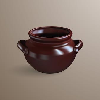 Realistyczny brązowy gliniany garnek