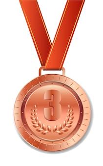 Realistyczny brązowy medal z czerwoną wstążką