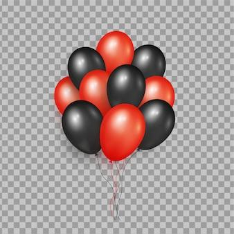 Realistyczny bukiet czarnych i czerwonych balonów na białym tle