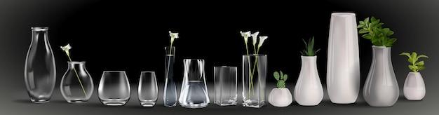 Realistyczny bukiet kwiatów w szklance wody