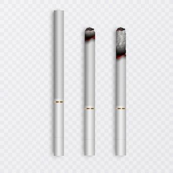 Realistyczny cały papieros i zestaw papierosów z różnymi etapami palenia