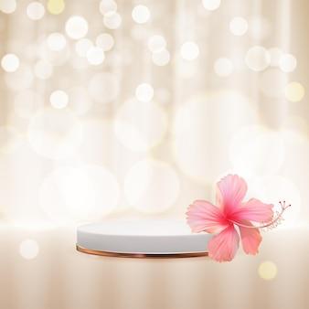 Realistyczny cokół 3d na błyszczącym tle bokeh z kwiatem hibiskusa