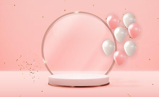 Realistyczny cokół 3d w kolorze różowego złota z balonami imprezowymi.