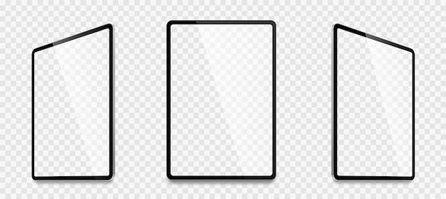 Realistyczny cyfrowy tablet zestaw ilustracji