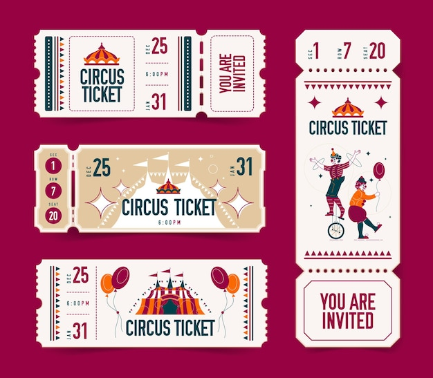 Realistyczny cyrk z pustym biletem zestaw izolowanych kuponów z edytowalnym tekstem i obrazami dużego szczytu