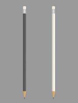 Realistyczny czarno-biały ołówek, zaostrzony, z białą gumką. ołówki odizolowywający na szarym tle. ilustracja