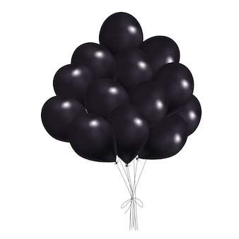 Realistyczny czarny bukiet latających balonów w czarny piątek