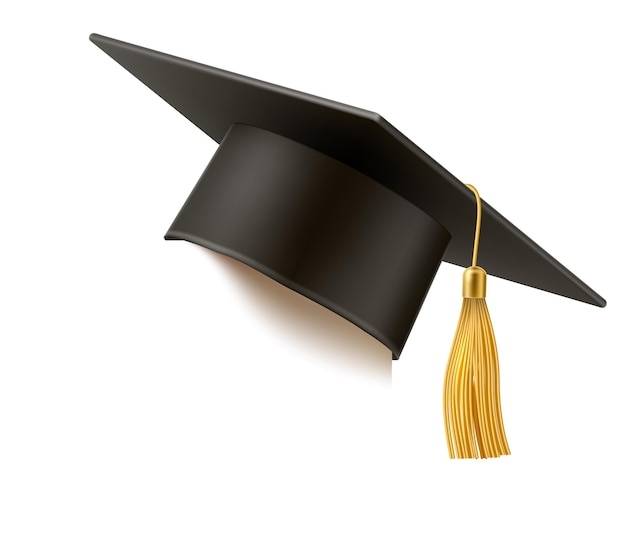 Realistyczny czarny kapelusz ukończenia uniwersytetu