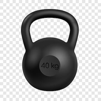 Realistyczny czarny kettlebell o wadze 40 kilogramów na białym tle