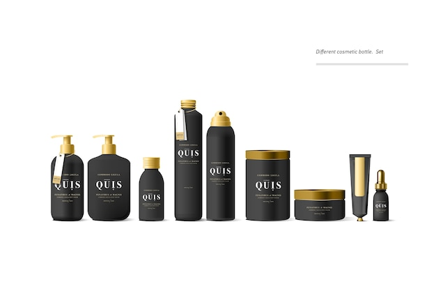Realistyczny czarny kosmetyczny makietowy pojemnik na krem i tubkę na krem, maść, pastę do zębów