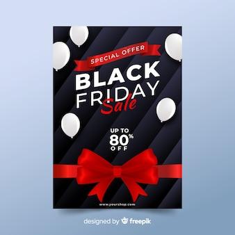 Realistyczny czarny piątek sprzedaż plakat