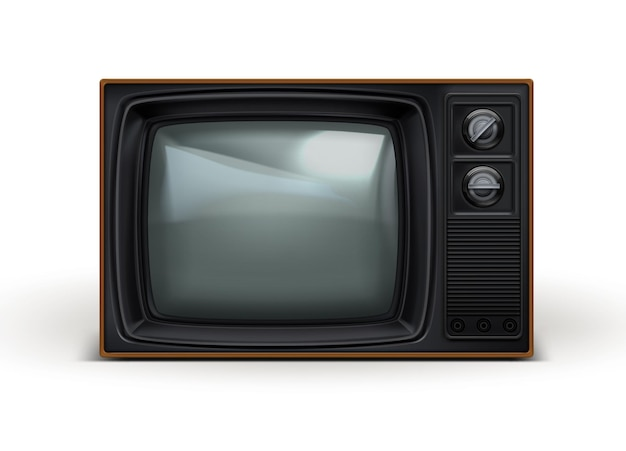 Realistyczny czarny telewizor retro z lat 80